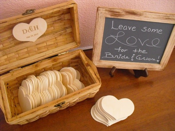 Wedding Guest Book Alternative Rustic Engraved Set with Chalkboard and Easel - Small Set- Item 1041