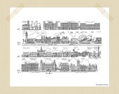 Printable Vintage London Sightseeing 8 x 10 London Print Travel Print Houses of Parliament Big Ben Trafalgar Square City Print Black White