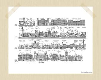Printable Vintage London Sightseeing 8 x 10 London Print Travel Print Houses of Parliament Big Ben Trafalgar Square City Print Black White