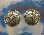 Sterling Silver Ox PLated Brass Concho  Round Floral Medallions w/3 holes 564SOX x2