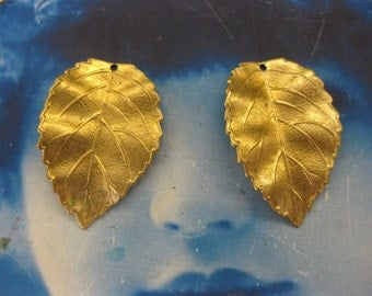 Natural Raw Brass Leaf Stamping with Hole 1020RAW x2