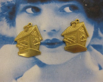 Clearance Closeout Sale Natural Raw Brass Bird House Charms 655RAW X2