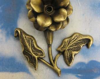 Brass Ox Plated Brass 3D Flower Stampings with hole for hanging options 2160BOX x2