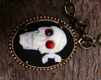 Steampunk Fantasy Goth Pirate Skull Black and White Cameo Necklace