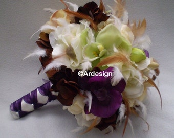 VINTAGE COUTURE Wedding Bouquet  With Feathers