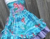 Custom Boutique Little Mermaid Girl Dress Disney Sizes 2 3 4 5 6 7 8