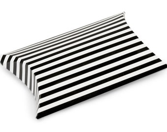 12 Pack Black and White Stripe Paper Pillow Boxes 3 X 3.5 X 1 Inch Size Great Packaging for Gifts, Party Favors, and More