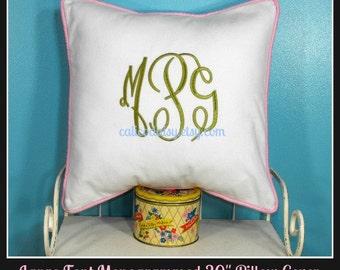 Large Font Monogram Euro Sham Pillow Cover - 20 x 20 square