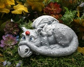 "Dragon Garden Statue - ""Daisy the Dragon"" & Her Ladybug Friend"