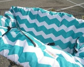 Shopping Cart cover  for boy or girl.....Large Chevron in TURQUOISE