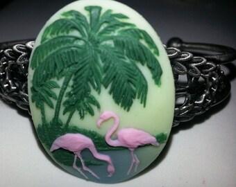 Flamingo, tiki, kawaii, pin up, Flamingo cuff, flamingo bracelet, pink flamingo, pink cuff, tiki cuff