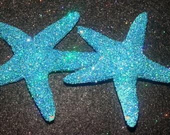 Blue Starfish,Starfish barrette,Beach wedding, tropical wedding, bridal, glitter starfish, starfish hair clip,beach, mermaid