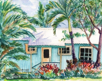 tropical plantation house 8x10 giclee print paintings of houses kauai art hawaiian wall art cottage art work teal aqua kauaiartist
