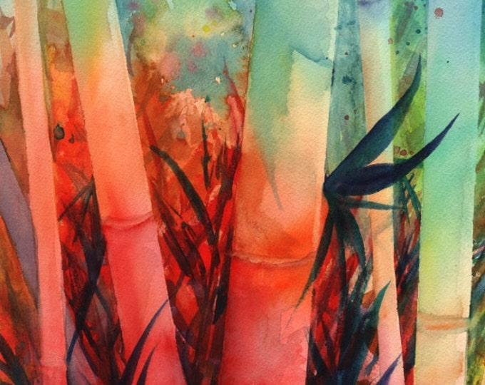 Bamboo Original Watercolor Painting Tropical Foliage Kauai Hawaii  Marionette Taboniar Asian Watercolors Japanese Watercolour Rainbow Colors