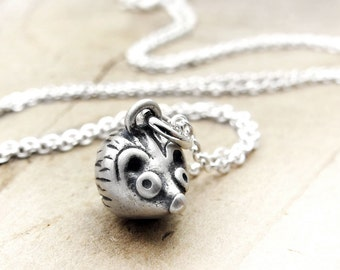 Very tiny hedgehog necklace, sterling silver hedgehog jewelry, wife gift, girlfriend gift, gift for mom, coworker gift