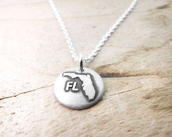 Tiny Florida necklace, silver state jewelry silver map pendant