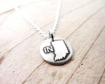 Tiny Indiana necklace, silver USA state jewelry Indiana charm
