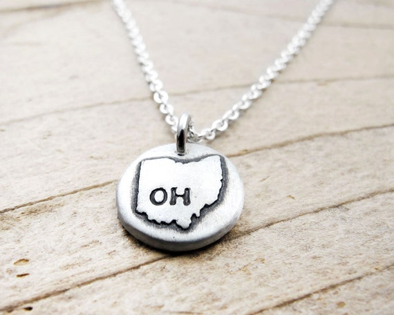 tiny ohio necklace silver state jewelry silver by