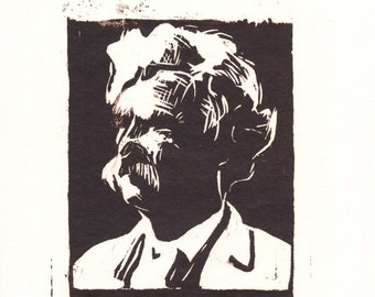 Mark Twain woodblock print / literary gifts / literary prints