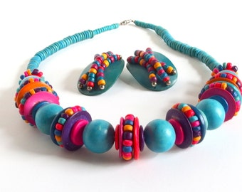 Vintage Demi Parure Hand Painted Colorful Chunky Wooden Bead Necklace and Earrings