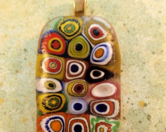 On Sale Now Multicolored Millefiori Circles Rectangular Fused Glass Cabochon