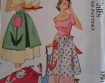 Vintage 50s Scalloped Rick Rack Trimmed Tulip Appliqued Half Apron Hostess McCall's 1781 One Size