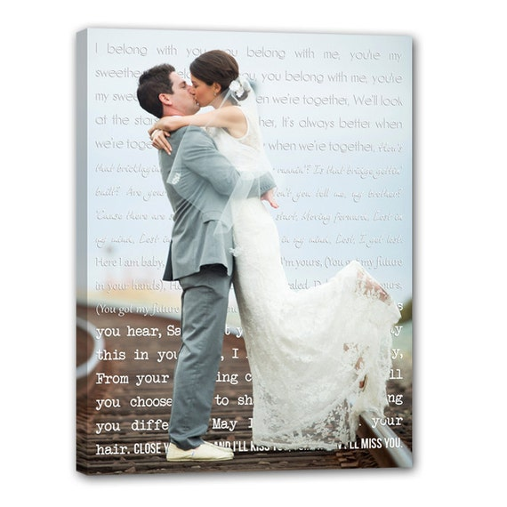 First Dance Lyrics/ Custom Canvas / Your Wedding Photo with your Lyrics/ Vows/ Love Story/ Photo Gift ideas/ Personalized Couple 18X24