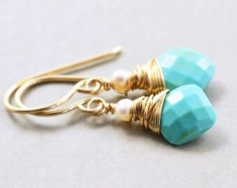 Turquoise Pearl Earrings, December Birthstone, Aqua Earrings, Handmade