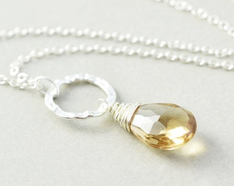 Yellow Quartz Necklace, Sterling Circle Necklace, Champagne Quartz Necklace