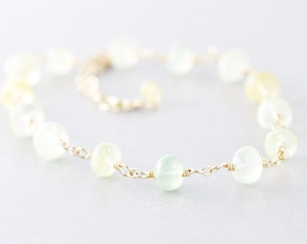 Prehnite Bracelet, Green Yellow Gemstone Bracelet, Melon Citrus