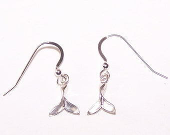 Sterling Silver WHALE TAIL Earrings -  French Earwires - Marinelife, Boating, Ocean