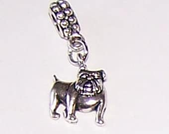 Silver BULLDOG Bead Charm for  all Name Brand Add a Bead Bracelets - Pet, Mascot