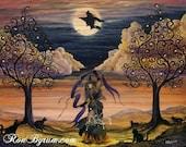 "Folk Art HALLOWEEN Witch Magick Trees PRINT ""Halloween Dance"" Byrum"