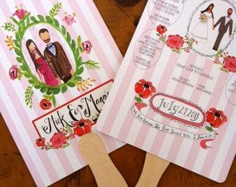 Custom Wedding Program Fan