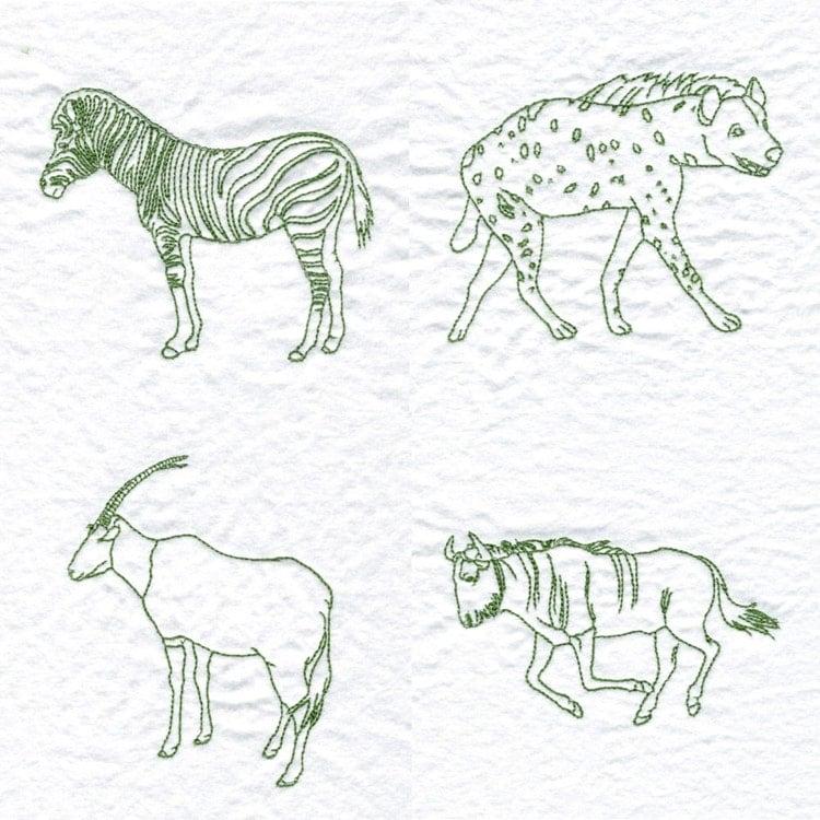 African animals machine embroidery designs by designsbyrhonda