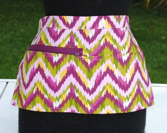 Vendor Apron Server Apron Cash Apron Travel Apron Chevron Pink Green  Twill
