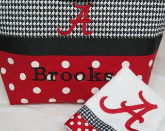 Monogrammed/Personalized  Black and White Hooundstooth and Red and White Polka Dots Diaperbag Set