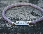 Lavender Beaded Love Bracelet