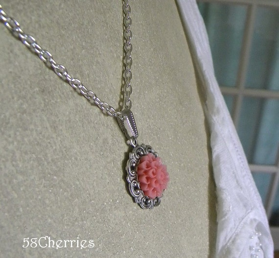 Pink Dahlia on Antique Silver color Flower Setting on Silver Plated Chain - Summer Romance and Shabby Chic