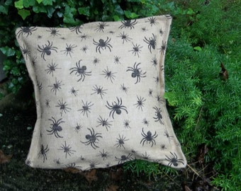 Halloween Burlap Pillow Spooky Spider Pillow Decorative Pillows French Country Farmhouse HalloweenDecorations