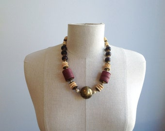 Vintage Brass & Bone Tribal Necklace.
