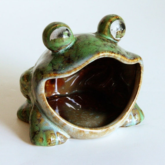 Vintage frog scrubby sponge holder scouring pad by oldcottonwood - Frog sponge holder kitchen sink ...