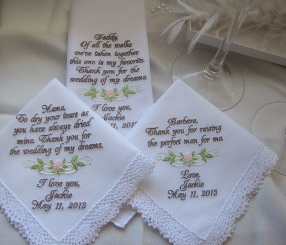 Wedding Handkerchiefs Set Of Three Personalized Mother Of The