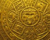 Aztec Calendar Pendant or Brooch, Sterling Silver