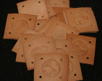 Leather Card Weaving Cards - Steampunk Hand Stamped 1 3/4 inches square - 15 Cards