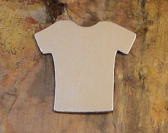 """5 Deburred 1 1/4"""" inch X 1 1/8"""" T-SHIRT JERSEY *Choose Your Metal* Aluminum Brass Bronze Copper Nickel Silver Stamping Blanks"""