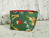 CLEARANCE Blue Ribbon Equestrian Print Fabric Soft sided bowl Basket Bin Container with burgundy lining