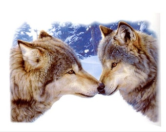 "WOLVES called ""Muzzle Nuzzle"" on One 18"" & 22"" Fat Quarter Fabric Panel to Quilt or Sew"