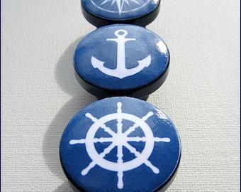 Nautical Knobs • Drawer Pulls • Nautical Drawer Knobs  • Anchor • Helm • Star Compass • Navy • Dresser Drawer Knobs