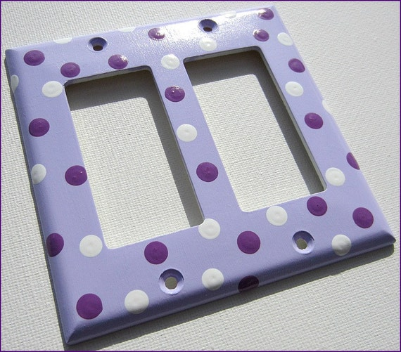 Hand Painted Switch Plate Cover Lavender Purple White